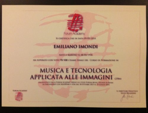 "Finally here is the certificate for the course of ""Music and Technology on Films"" at Forum Music Village Recording Studios"