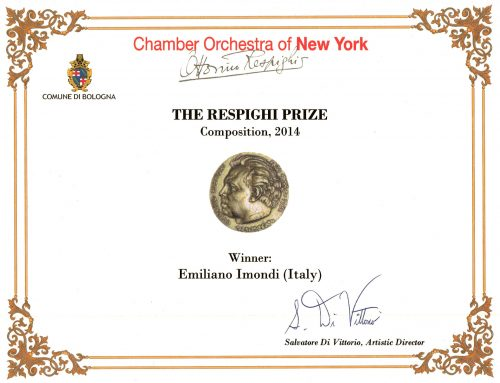 Here is the certificate of my victory at the Respighi Prize 2014 in New York City